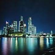 Business District Skyline At Night Poster