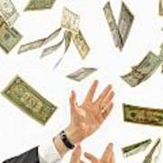 Businessman's Hands Trying To Catch Us Dollars Poster
