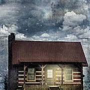 Cabin At Night Poster
