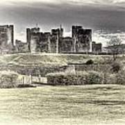 Caerphilly Castle Cream Poster