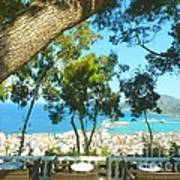Cafe Terrace At Bohali Overlooking Zante Town Poster