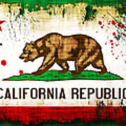 California Grunge Style Flag Poster