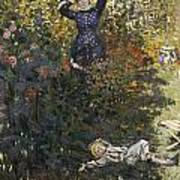 Camille And Jean In The Garden At Argenteuil  Poster