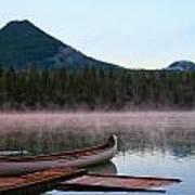 Canoe Waiting Jasper National Park Poster