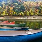 Canoes At Fontana Poster
