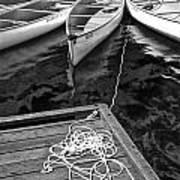 Canoes Docked At Lost Lake Poster