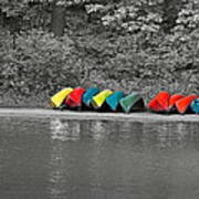 Canoes In A Row Poster