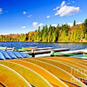 Canoes On Autumn Lake Poster by Elena Elisseeva