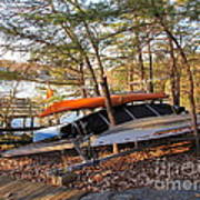 Canoes Resting Poster