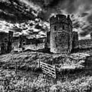 Carew Castle Pembrokeshire 4 Mono Poster