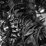 Carnival Masks In Black And White Poster