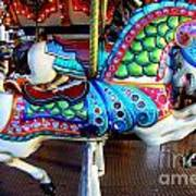 Carousel Horse With Sea Motif Poster