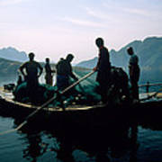 Carp Fishermen In Lake Formed By A Dam Poster