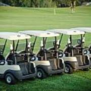 Carts Ready To Hit The Greens Poster