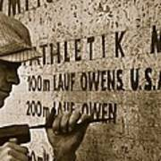Carving The Name Of Jesse Owens Into The Champions Plinth At The 1936 Summer Olympics In Berlin Poster