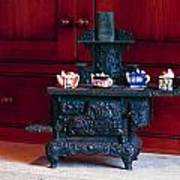 Cast Iron Stove With Teapots Poster