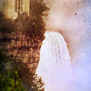 Castle At The Edge Of The Falls Poster