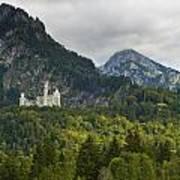 Castle Neuschwanstein With Alps In The Background Poster