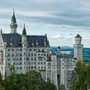 Castle Neuschwanstein With Surrounding Landscape Poster