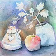 Cat-apple-vase Still Life Poster