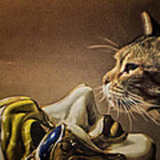Cat With Venetian Mask Poster