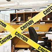 Caution Tape Blocking A Cubicle Entrance Poster