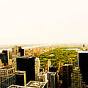 Central Park And The New York City Skyline From Above Poster