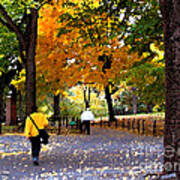 Central Park Fall Walk Poster