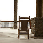 Chair On A Snowy Balcony Poster