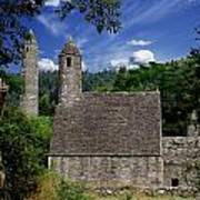Chapel Of Saint Kevin At Glendalough Poster by The Irish Image Collection