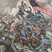 Charge Of The 54th Massachusetts Poster by Photo Researchers