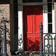 Charleston Red Door - Red White Black Door With Iron Gate Posts Poster