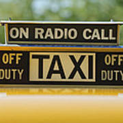 Checker Taxi Cab Duty Sign Poster