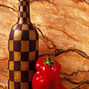Checker Wine Bottle And Red Pepper Poster by Garry Gay