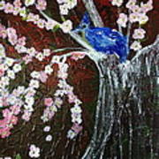 Cherry Blossom And Blue Bird  Poster by Pretchill Smith