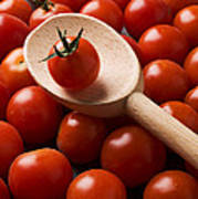 Cherry Tomatoes And Wooden Spoon Poster