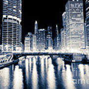 Chicago At Night At Dearborn Street Bridge Poster
