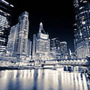 Chicago At Night At Michigan Avenue Bridge Poster