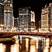 Chicago At Night At State Street Bridge Poster