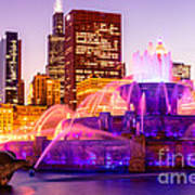 Chicago At Night With Buckingham Fountain Poster