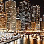 Chicago City Skyline At Night Poster
