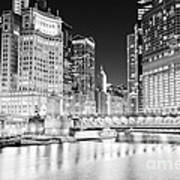 Chicago Cityscape At Night At Dusable Bridge Poster