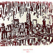 Chicago Great Fire Of 1871 Serigraph Of Skyline Buildings Sears Tower Lake Michigan John Hancock  Poster
