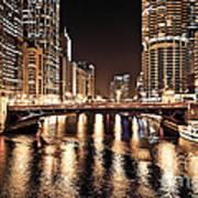 Chicago Skyline At State Street Bridge Poster