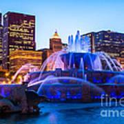 Chicago Skyline Buckingham Fountain High Resolution Poster