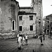 Children At Play In A Venice Piazza Poster