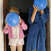 Children Blowing Up Balloons Poster