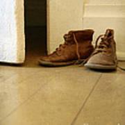 Child's Shoes By Open Door. Poster
