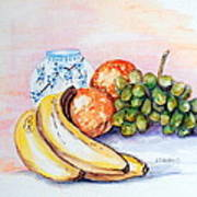 China Vase With Fruit Poster by Janna Columbus