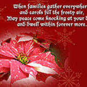 Christmas Card - Red And White Poinsettia Poster